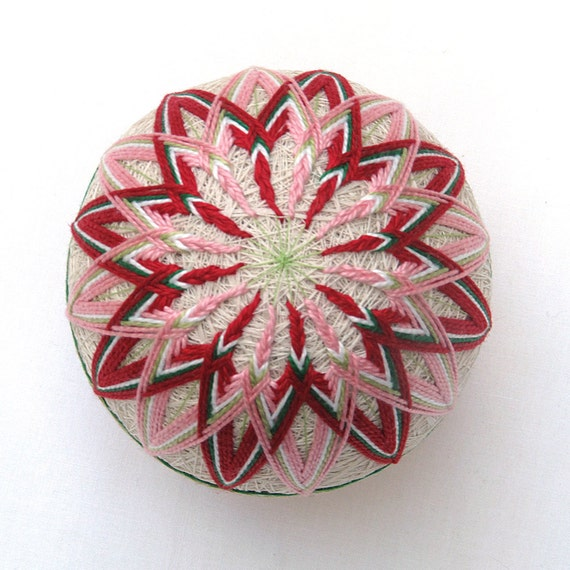 Temari ball handmade japanese collectible thread ornament
