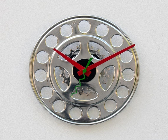 recycled Bike chainring guard clock