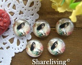 Glass Cabochon, 8mm 10mm 12mm 14mm 16mm 20mm 25mm 30mm Round Handmade photo glass Cabochons (Vintage Girl)  -- BCH129J