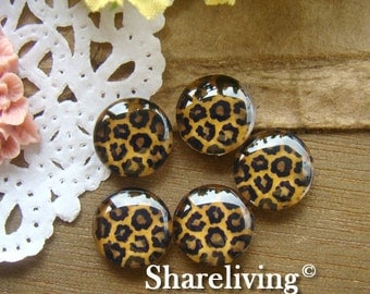 12mm Photo Glass Cabochon, 8mm 10mm 14mm 16mm 20mm 25mm 30mm Round Leopard glass Cabochon - BCH010P
