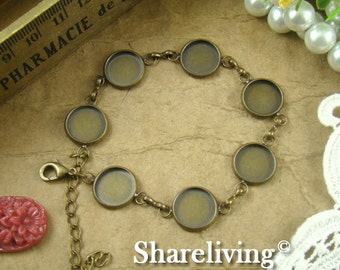 1pcs 190mm Antique Bronze Bracelet With 12mm Round Cameo Setting  RI850