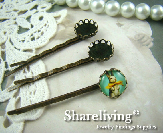 10pcs Antique Bronze Bobby Pin With 12mm Cameo Base Setting HA187