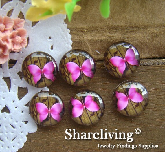 Glass Cabochon, 8mm 10mm 12mm 14mm 16mm 20mm 25mm 30mm Round Handmade photo glass Cabochons (Butterfly)  -- BCH099E