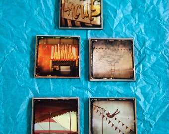 Circus Magnets Photographs on Wood Set of 5--No. 3