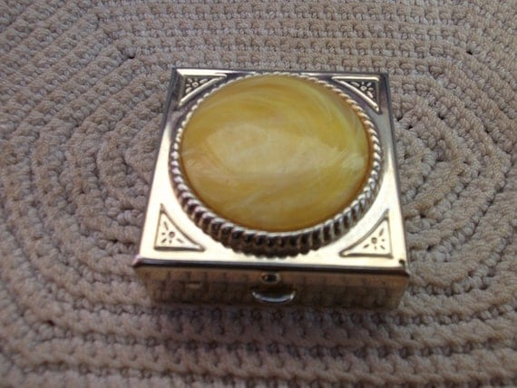 Vintage yellow Lucite Pill box