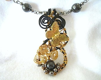 Golden Butterfly Wire Wrapped Pendant and Handmade Necklace