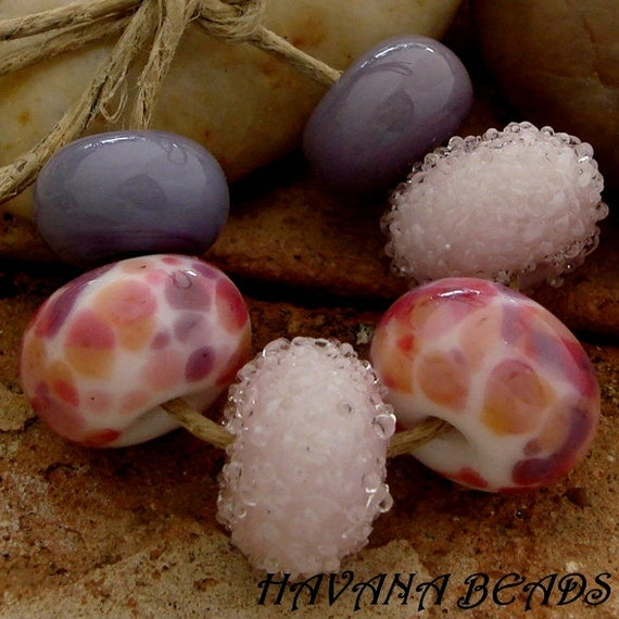 ROSE PETALS BEAD Set - 6 Handmade Lampwork Beads