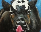 Print Cow 461 10x10 inch Print from oil painting by Roz