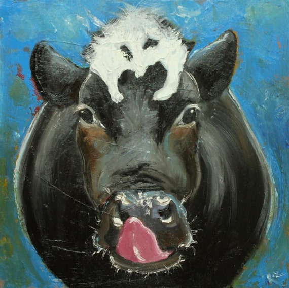 Cow painting 502 20x20 inch original oil painting by Roz