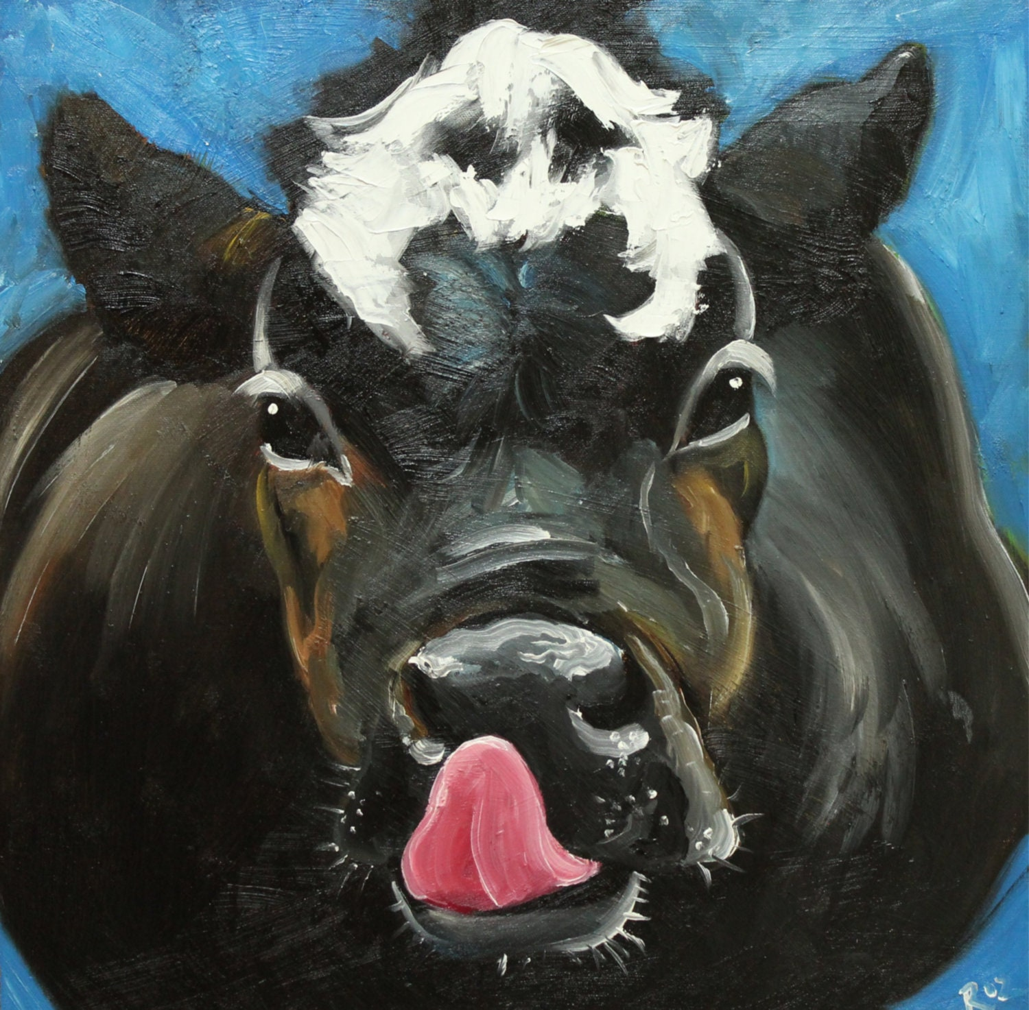 Print cow 461 10x10 inch print from oil painting by roz for Cow painting print