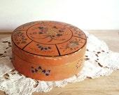 Vintage Box Papier Mache Peach Round Box Made in Japan