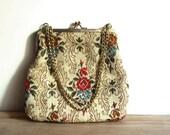Vintage Tapestry Bag La Regale Evening Purse Floral Design Made in Hong Kong