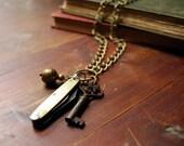 Vintage Traveler's Pocket Knife Necklace, Skeleton Key, Brass Charm