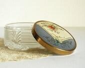 Vintage Dresser Jar Art Deco Powder Jar with Celluloid Blue Lid