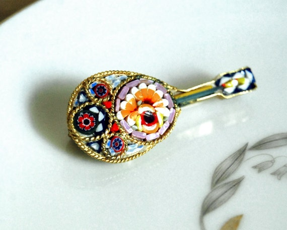 Reserved for Jill -- Vintage Brooch Micro Mosaic Mandolin Italian Millefiori Glass Jewelry