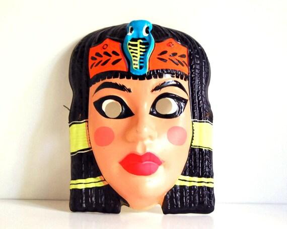 Vintage Halloween Mask 1960s Cleopatra Adult Costume Plastic