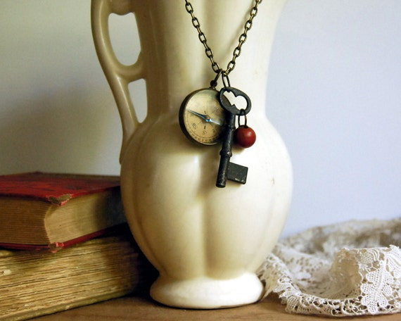 Vintage Compass Necklace Traveler's Skeleton Key Vintage Wood Button Camping Jewelry