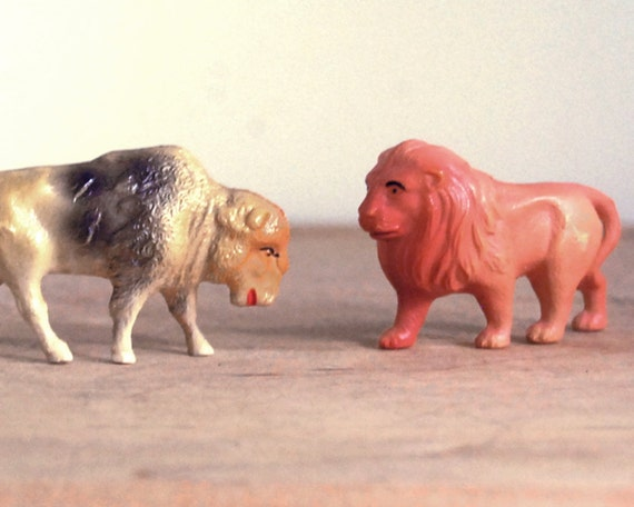 Vintage Celluloid Animals, Plastic Lion and Bison Figurines Made in United States