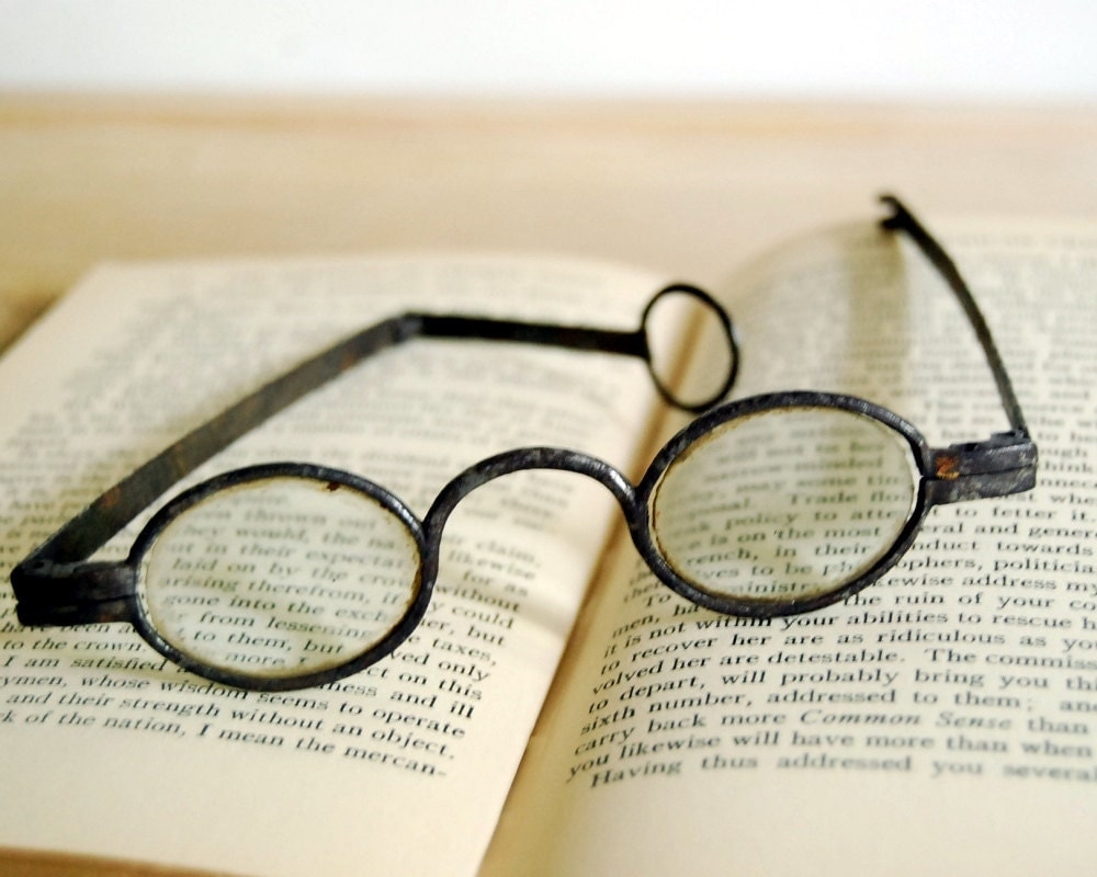 Antique Spectacles 1700s Forged Iron Temple Eyeglasses Double