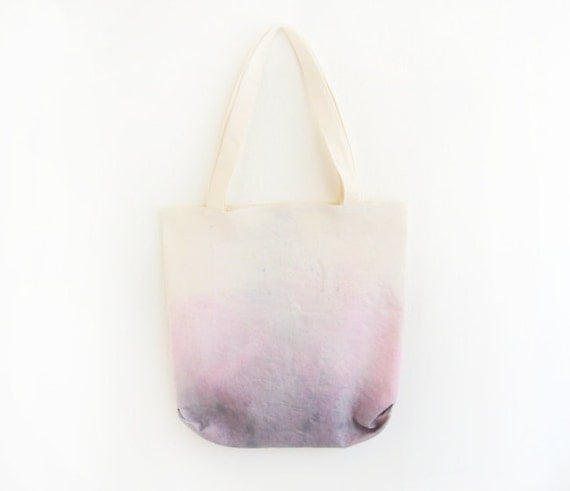 purple pink dyed texture tote