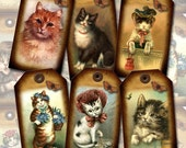 Cats Kittens Kittys -Charming Primitive Vintage Art Hang/Gift Tags/Cards- Printable Collage Sheet JPG Digital File- Buy One GeT OnE FREE