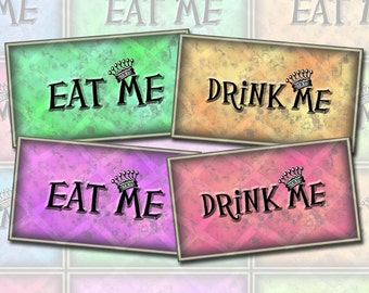Drink Me and Eat Me-Alice In Wonderland Tags/Card-LoVELY JeWEL ToNES- INSTaNT DOWNLoAD- Printable Collage Sheet Download JPG Digital File