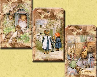 Ginger & Pickles- Beatrix Potter Vintage Art Hang/Gift Tags/Cards - Printable Collage Sheet Download JPG Digital File-New Lower Price