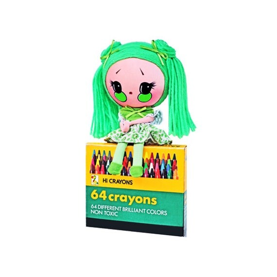 crayon pose doll green color girl Moon Head RESERVED / ADOPTED This is FROGGY