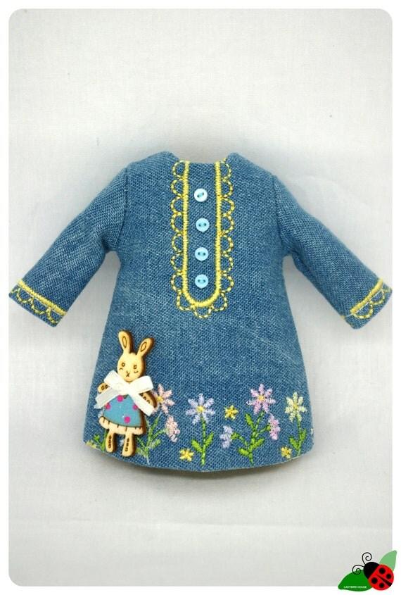LADYBIRD HOUSE Blythe Outfit Denim And Dress - Rabbit