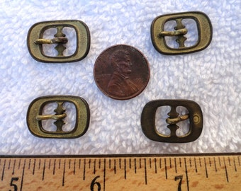 Four Small  Brass Buckles, Deco Style, 15mm x 21mm, Doll Size Buckle