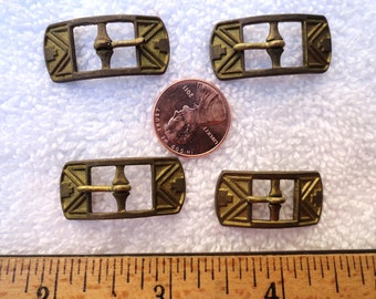 Four Vintage Brass Buckles, Deco Style, 30mm Buckle