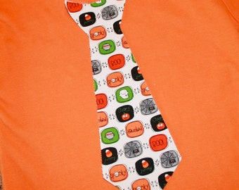 Boo to You - Halloween Appliqued Boys Tie Shirt in Orange or White - size 0-3 months to size 6 - Long or Short Sleeved