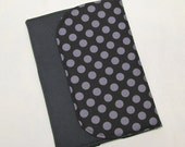 Charcoal Black Gray/Black Polka Dot MADE TO ORDER eReader Cover Book Style Case for Kindle Nook Kobo iRiver Tablets
