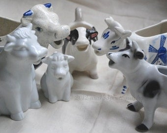 Still Life Photograph Cute Cow Photo Cow Creamers Kitchen Decor Fun Photo Blue and White Picture 8x10 inch Print And They Sang All Day