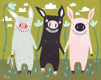 Three Little Pigs Folk Art Print - Pig Artwork Wall Decor
