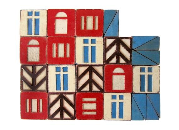 Village Wooden BUILDING Blocks - Set of 26 Vintage Blocks