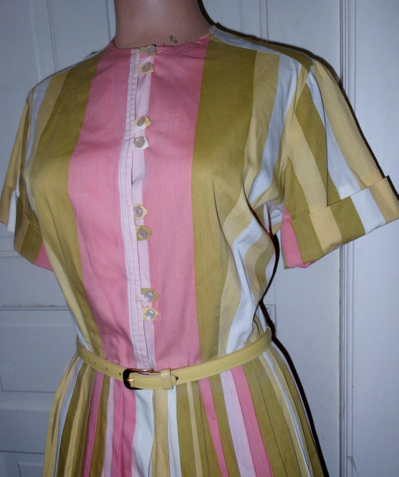 Vtg 50s Rockabilly Dress Pink/Green Stripe Cotton Pleated House Lucy Swing XL 44