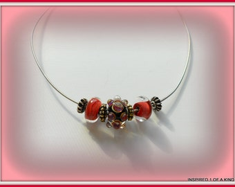 Red Lampwork and silver necklace