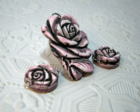 Pink and Black Gray Rose Pendant Focal Bead plus Two Matching Beads