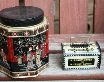 vintage mixed lot 2 tins oriental and an old mini metal bank