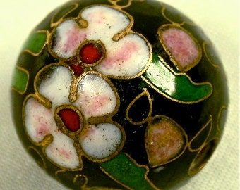 Vintage Black Cloisonne Bead Chinese BLACK Yellow Pink Flowers 15mm pkg 1 clo91