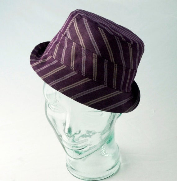 Plum Pinstripe Fedora : Womens, Mens  Hats - L