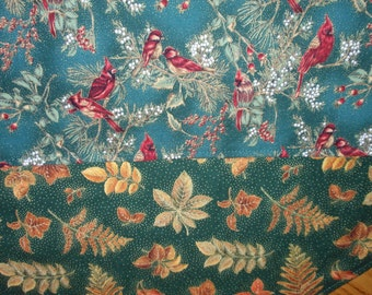 Table Runner Autumn Fall Leaves / Winter Christmas Cardinals Reversible