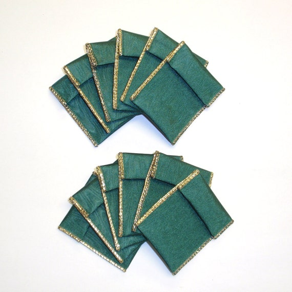 Reserved for potterycrazedgal - Jewelry Bead Pouches - 12 Green Gold