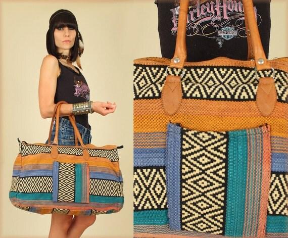 Vintage Woven Tribal Leather Oversized Kilim Weekender Bag