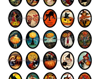 Vintage Halloween Digital Collage Sheet-  sized 30x40 mm Ovals -  DIY you Print jewelry supplies - INSTANT DOWNLOAD