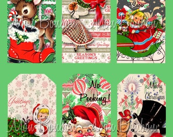 Digital Collage Sheet of Vintage Retro Christmas Tags Collage Sheet - DIY You Print - INSTANT DOWNLOAD