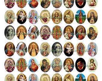 Vintage Religious Sacred Heart 22x30 Ovals Digital Collage Sheet  No. 555 - INSTANT DOWNLOAD