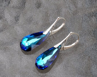 Blue Earrings, Sterling Silver Earrings, Dangle Earrings, Swarovski crystals, Bermuda blue teardrop,Lever Backs, 925 Silver, Fashion Jewelry
