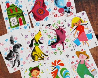 Vintage House That Jack Built Cards - Set of 10 - Cute and Colorful Children and Animals - Farm Life